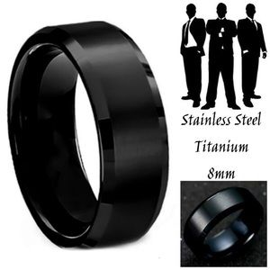 Midnight Black Shiny Stainless Steel Wedding Ring